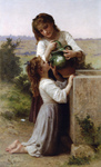 Photo of a Girl Helping Her Sister Drink Water From a Jar, At the Fountain, by William-Adolphe Bouguereau