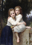 Photo of Two Sisters Hugging on a Stone Wall, by William-Adolphe Bouguereau