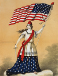 Photo of a Woman, Portrayed as Lady Liberty, Holding a Sword and American Flag