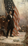 Historical Stock Photography: Abraham Lincoln Holding the Rope to an American Flag