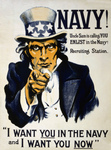 Stock Photography of a Vintage War Poster of Uncle Sam in Blue, Pointing Outwards, I Want You in the Navy and I Want You Now