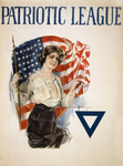 Stock Photography of a Young Patriotic Woman With a Blue Triangle and American Flag on a Vintage Patriotic League WWI Poster