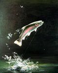 Clipart Image Illustration of a Rainbow Trout Fish Jumping Out of the Water After Biting a Fishing Hook