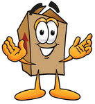 Clip Art Graphic of a Cardboard Shipping Box Cartoon Character With Welcoming Open Arms