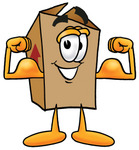 Clip Art Graphic of a Cardboard Shipping Box Cartoon Character Flexing His Arm Muscles