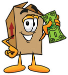 Clip Art Graphic of a Cardboard Shipping Box Cartoon Character Holding a Dollar Bill