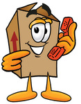 Clip Art Graphic of a Cardboard Shipping Box Cartoon Character Holding a Telephone