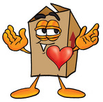 Clip Art Graphic of a Cardboard Shipping Box Cartoon Character With His Heart Beating Out of His Chest