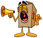 Clip Art Graphic of a Cardboard Shipping Box Cartoon Character Screaming Into a Megaphone