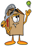 Clip Art Graphic of a Cardboard Shipping Box Cartoon Character Preparing to Hit a Tennis Ball