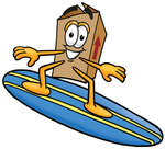 Clip Art Graphic of a Cardboard Shipping Box Cartoon Character Surfing on a Blue and Yellow Surfboard