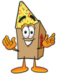 Clip Art Graphic of a Cardboard Shipping Box Cartoon Character Wearing a Birthday Party Hat