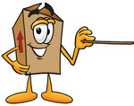 Clip Art Graphic of a Cardboard Shipping Box Cartoon Character Holding a Pointer Stick