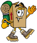 Clip Art Graphic of a Cardboard Shipping Box Cartoon Character Hiking and Carrying a Backpack