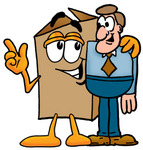 Clip Art Graphic of a Cardboard Shipping Box Cartoon Character Talking to a Business Man
