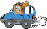 Clip Art Graphic of a Cardboard Shipping Box Cartoon Character Driving a Blue Car and Waving