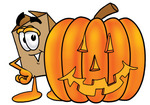 Clip Art Graphic of a Cardboard Shipping Box Cartoon Character With a Carved Halloween Pumpkin