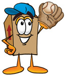 Clip Art Graphic of a Cardboard Shipping Box Cartoon Character Catching a Baseball With a Glove