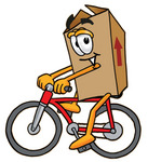Clip Art Graphic of a Cardboard Shipping Box Cartoon Character Riding a Bicycle