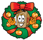 Clip Art Graphic of a Cardboard Shipping Box Cartoon Character in the Center of a Christmas Wreath