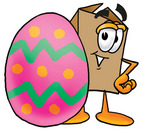 Clip Art Graphic of a Cardboard Shipping Box Cartoon Character Standing Beside an Easter Egg