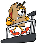 Clip Art Graphic of a Cardboard Shipping Box Cartoon Character Walking on a Treadmill in a Fitness Gym