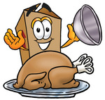 Clip Art Graphic of a Cardboard Shipping Box Cartoon Character Serving a Thanksgiving Turkey on a Platter