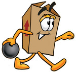 Clip Art Graphic of a Cardboard Shipping Box Cartoon Character Holding a Bowling Ball