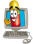 Clip Art Graphic of a Red and Yellow Pill Capsule Cartoon Character Waving From Inside a Computer Screen