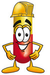 Clip Art Graphic of a Red and Yellow Pill Capsule Cartoon Character Wearing a Hardhat Helmet