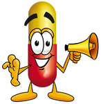 Clip Art Graphic of a Red and Yellow Pill Capsule Cartoon Character Holding a Megaphone