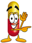 Clip Art Graphic of a Red and Yellow Pill Capsule Cartoon Character Waving and Pointing