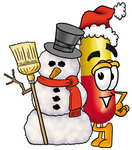 Clip Art Graphic of a Red and Yellow Pill Capsule Cartoon Character With a Snowman on Christmas