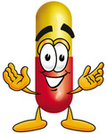 Clip Art Graphic of a Red and Yellow Pill Capsule Cartoon Character With Welcoming Open Arms