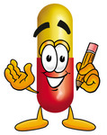 Clip Art Graphic of a Red and Yellow Pill Capsule Cartoon Character Holding a Pencil