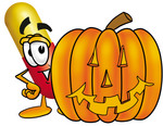 Clip Art Graphic of a Red and Yellow Pill Capsule Cartoon Character With a Carved Halloween Pumpkin