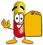 Clip Art Graphic of a Red and Yellow Pill Capsule Cartoon Character Holding a Yellow Sales Price Tag