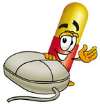 Clip Art Graphic of a Red and Yellow Pill Capsule Cartoon Character With a Computer Mouse