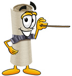Clip Art Graphic of a Rolled Diploma Certificate Cartoon Character Holding a Pointer Stick