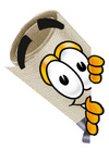 Clip Art Graphic of a Rolled Diploma Certificate Cartoon Character Peeking Around a Corner