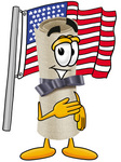 Clip Art Graphic of a Rolled Diploma Certificate Cartoon Character Pledging Allegiance to an American Flag