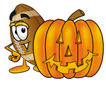 Clip Art Graphic of a Football Cartoon Character With a Carved Halloween Pumpkin