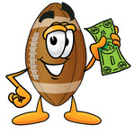 Clip Art Graphic of a Football Cartoon Character Holding a Dollar Bill