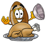 Clip Art Graphic of a Football Cartoon Character Serving a Thanksgiving Turkey on a Platter