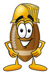 Clip Art Graphic of a Football Cartoon Character Wearing a Hardhat Helmet
