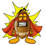 Clip Art Graphic of a Football Cartoon Character Dressed as a Super Hero
