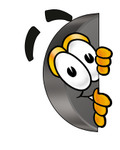 Clip Art Graphic of an Ice Hockey Puck Cartoon Character Peeking Around a Corner