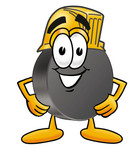 Clip Art Graphic of an Ice Hockey Puck Cartoon Character Wearing a Hardhat Helmet