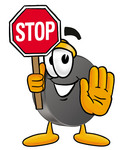 Clip Art Graphic of an Ice Hockey Puck Cartoon Character Holding a Stop Sign