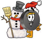Clip Art Graphic of an Ice Hockey Puck Cartoon Character With a Snowman on Christmas